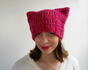 Bright Pink Pussy Hat Handknit in Soft Boucle Yarn