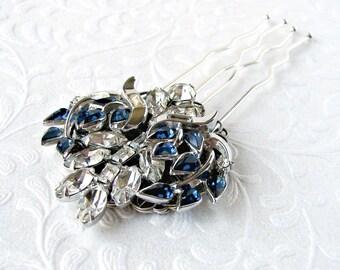 Stunning Something Blue Jeweled Wedding Hair Comb Cobalt Rhinestone Costume Jewelry Hairpiece Bridal Formal Pageant Boho Chic Vintage Bride