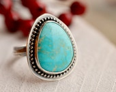 Silver Turquoise Ring, Hand Forged Ring, Armenian Turquoise, Organic Ring Band, Recycled Silver Ring, One of a Kind Ring, Unique Ring