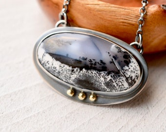 Dendritic Agate Necklace, Statement Necklace, Gold Accents, Hand Fabricated, Metalsmithed Silver, Stone Pendant, Artisan Jewelry