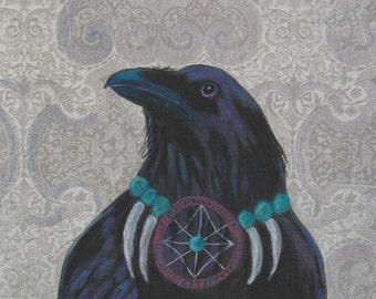 Raven Warrior dream catcher card