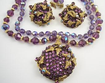 Designer Eugene Purple Crystal Rhinestone Necklace Set