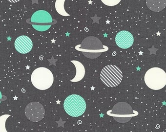 Space Explorers, Moon, stars and Planets in Mint by Ann Kelle, Robert Kaufman, yard
