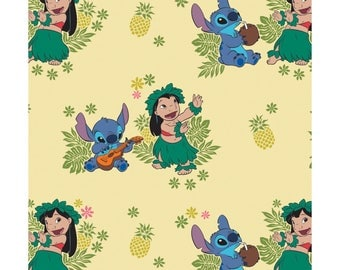 NEW Disney Fabric- Lilo and Stitch collection- Ohana in Lemonade yellow, Camelot, yard