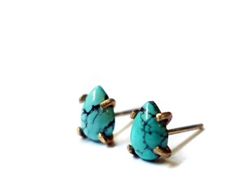 Tiny Turquoise and Solid 14k Gold Stud Earrings