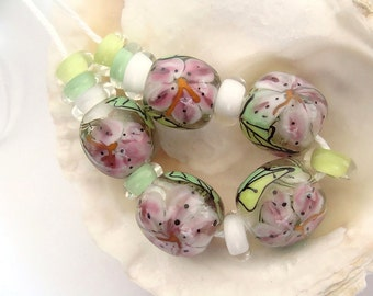 5 Floral Handmade Lampwork Beads & 10 Spacers