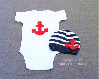 Knit Nautical Baby hat and baby One-Piece Set with Anchor , Anchor baby apparl,  Newborn photography, Baby shower gift, kids hat