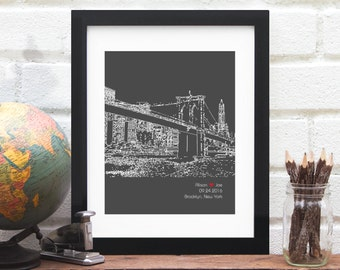 Brooklyn Bridge, Engagement Gift, Personalized Anniversary Gift, New York City art, City Skyline Print, Brooklyn New York, Engagement Gift