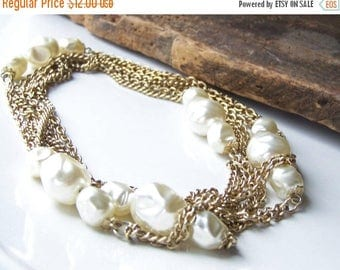 MARCH MADNESS SALE 1/2 Off Reduced Vintage Necklace, Double Strand Necklace, Faux Pearl Necklace, Opera Length Necklace, Bridal Necklace, Et