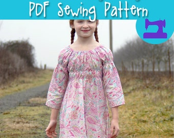 PDF SEWING PATTERN - The Ramblin' Raglan Mega Pack - size 18-14 - peasant dress, nightie pattern, girls dress, toddler dress, peasant dress