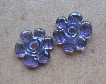Lampwork Beads - SueBeads - Disc Beads - Disc Flowers - Purple Cut Disc Flower Bead Pair - Handmade Lampwork Beads - SRA M67