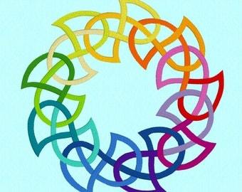 8 inch Celtic Rainbow Wreath Machine Embroidery Design File