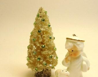 Vintage Style Bottlebrush Ivory Christmas Tree- Sparkling Swarovski Peridot Green Crystals- Mica Flakes Snow
