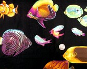 Fabric - Almost 3 Yards - Large Tropical Fish on Black - Quiltsy Destash Party