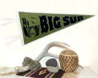 Big Sur Banner Silkscreen on Moss Green Wool Felt