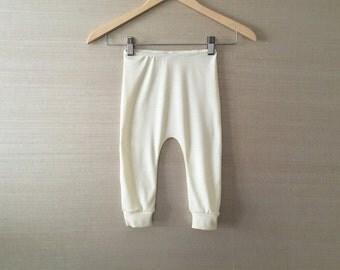baby wool pants, superfine merino pyjama pants, woollen leggings (cream)