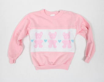 1980's Pink Teddybear Sweater from Honors Girls . Toddler Size 5 Pullover . Knit Jumper . Comfy 80s retro clothing for kids
