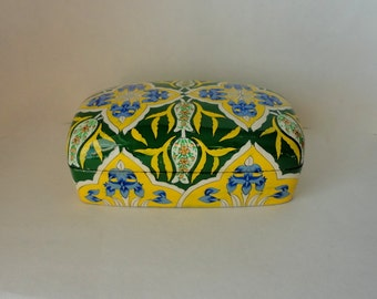 "Vintage 7"" Blue Iris Lacquered Kashmir Paper Mache Dresser Box Floral Handpainted HandMade Lid Gift Presentation Trinket Hostess Keepsake"