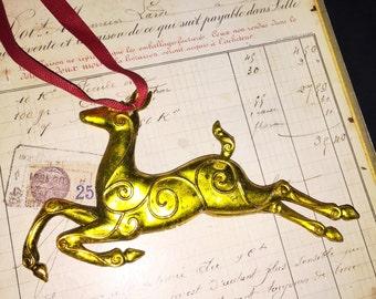 Vintage Gold Christmas Reindeer