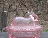 Vintage Pink Glass Bunny Dish - Candy Dish/ Trinket Dish - Collectible Pink Glass - Easter Gift