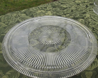 Vintage Footed Serving Plate/ Cake Plate - Clear Pressed Glass - Starburst Glassware