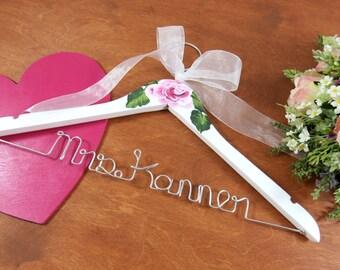 Bridal Hangers - Deluxe Hanger - Personalized Hanger - Engagement Gift - Wedding Dress Hanger - Brides Hanger - Rustic Wedding - Hanger