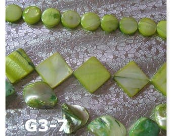 73 Mother of Pearl Shell Beads 11-20mm Beads Green Coin Square Nugget G3-7