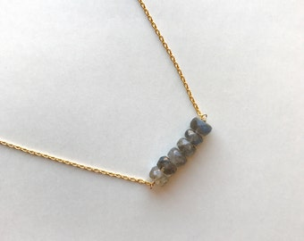 Labradorite & Gold-Filled Chain Delicate Necklace