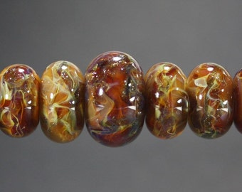 Lampwork Glass Boro Bead Set of 7 With Focal Bead Handmade Juba Glass Caramel Coffee Sparkle 54a