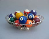 Vintage Pool Balls Complete Set in Oval Silverplate Basket Family Room Decor Colorful Billiard Ball Display