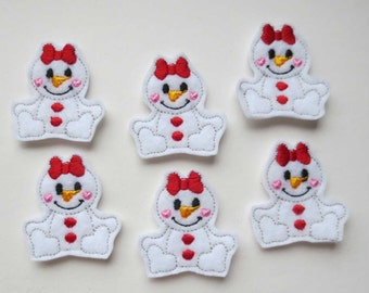 Snowgirl with Red Bow Felt Embroidered  Applique - Bow Centers - Feltie - 455