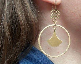 Gold-Brass-Hoop-Fishbone-Dangle-Earrings / Free US Shipping