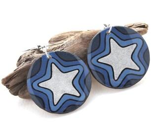Big Bold Statement Earrings, Large Lightweight Blue & Silver Star Earrings, Modern Geometric Circle Earrings, Fun Funky Unique Earrings