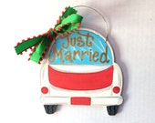 Just Married Car Ornament - painted wood - personalized - painted Christmas ornament - wedding gift - just married ornament - personalized