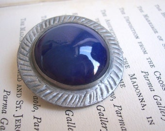 Blue Ceramic Circle vintage brooch - in silver pewter setting - modernist style - 1960s