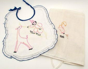 Vintage Embroidered Baby Clothes - baby bib and dress - embroidery - baby - vintage baby clothes