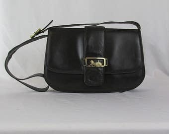 CELINE Black Leather Gold Horse Carriage Crossbody Purse Removable Strap Clutch