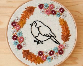 Bird 20cm embroidery hoop