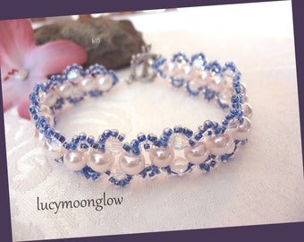 White Pearl Woven Bracelet Bridal Wedding  White and Blue