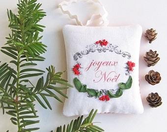 Joyeux Noel Balsam Sachet, Scented Christmas Tree Ornament, Embroidered  Sachet, Drawer Freshener,