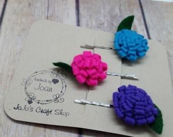 Felted flower Bobby Pin set