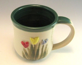 Pottery Tulip Mug/Hand Made Flower Mug/ Ceramic Mug with Tulips