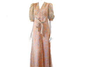Vintage Maxi Floral Dress// Pastel Colors Flower Print Dress// Floor Length Bowed Dress// 123