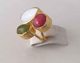 Triple Gold plated  Jade and  Mother of the pearl  ring