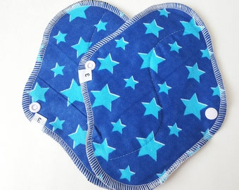 Cloth Menstrual Pads / Mama Cloth Pads - Set of 2 .. Perfect for Postpartum HEAVY FLOW 8 inch Blue Stars Flannel FREE Shipping
