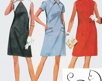 1960s MOD ColorBlock Shift Dress McCalls 9255 Vintage 60s Sewing Pattern Size 12 Bust 34
