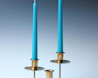 Modern metal 3-arm candle holder, mid century, gold finish