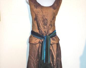 Vintage 80s Copper Dress Blouse Skirt Set Size 6 to 8 M
