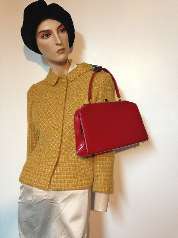 Retro Handbags, Purses, Wallets, Bags Vintage Red Purse LARGE Candy Apple Red with Brass Feet $50.00 AT vintagedancer.com