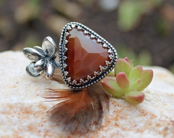 Rose Cut Carnelian and Real Succulent bud Sterling Silver ring, boho, gypsy, organic, size 7.0-8.0 Adjustable, handmade, rustic
